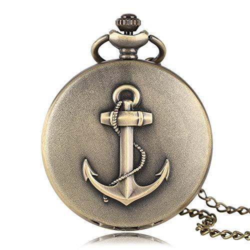Taschenuhr Anker Design Piraten Thema Tasche Uhr Halskette Kette Männer Frauen Voller Jäger Römische Zahl Zifferblatt Bronze Geschenk Für Kinder