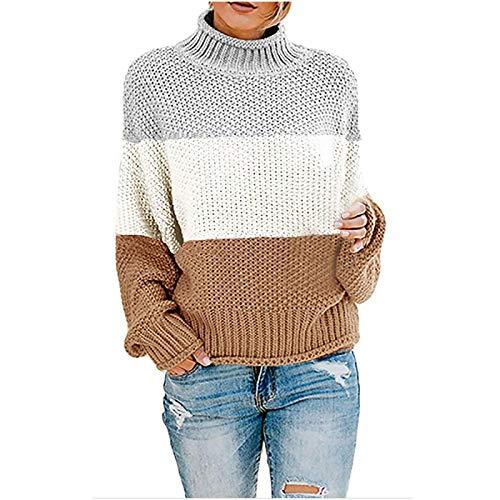 PFZL, suéter de Cuello Alto para Mujer, Otoño Invierno, Jersey de Punto de Color a Juego, Cuello Alto, Manga Larga, Estampado, suéter Suelto, Tops