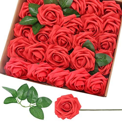 ASANMU Künstliche Rosen Blumen, Schaumrosen 25 PCS Foamrosen Blumenköpfe Kunstblumen Rosenköpfe Blütenköpfe Gefälschte Kunstrose DIY Blätter Blüten Rot Künstlich für Hochzeit Party Valentinstag (Rot)