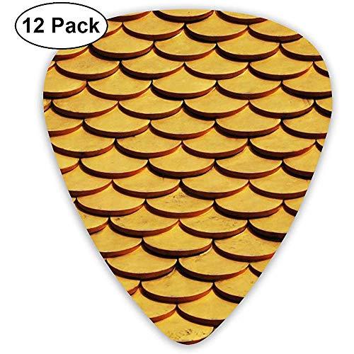 Zeemeermin vis schalen gitaar pick-set gitaar bas mandoline ukulele 0.46mm 0.71mm 0.96mm 12 Pack gitaar plukken pruiken plukken houder