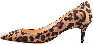 Kmeioo Pumps Women, Women's Slip On Kitten Heels Pointed Toe Low Heels Office Pumps Wine Red