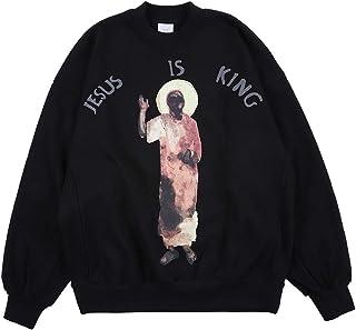 cpfm.xyz Kangye Men's Sweatshirt Jesus is King Hip Hop Rapper Sweater Oversized Graphic Printing Cotton Crewneck Pullover ...