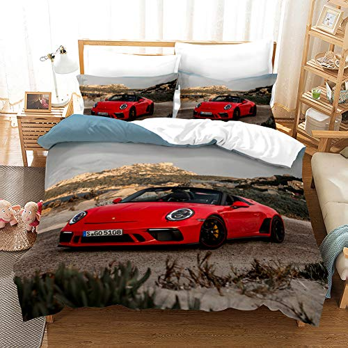 AYMAING Best Kinder -Junge - Mädchen - Car Bettwäsche-Set, Rot Sportwagen Motiv Bettbezug 220 x 240 cm, Kopfkissenbezug 80 x 80 cm - Mikrofaser