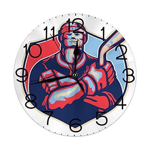 qinhanxinchengxianlibaihuodian Stille Wanduhr, die Nicht 10 Zoll Quarz-rundes dekoratives, Illustration eines Eishockey-Spielers hält Stock im Retrostil tickt