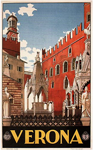 Verona, 1928 Vintage Italian Travel Reproduction Rolled Canvas Print 24x36 in.