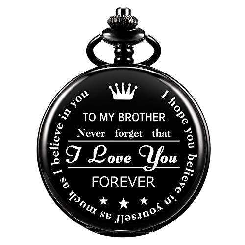 Reloj De Bolsillo Grabado Personalizado De ManChDa para Brother Gift, Relojes De Bolsillo Vintage con Cadena para Hombres, Regalo De Cumpleaños, Bonitos Regalos para La Familia