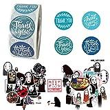 500 Piezas Gracias Pegatinas,50 Piezas Pegatinas de Graffiti Etiqueta de Agradecimiento para Bolsas de Regalo Navidad Artesanías Hechas a Mano Panadería Equipaje