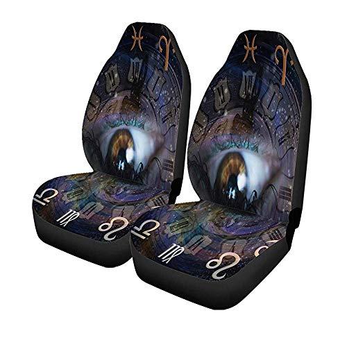 Set met 2 stoelhoezen voor auto, liefde, Astrologie, 12 sterrenbeelden, voor dames, waterman widder, voorstoelen, universele protector 14-17 inch