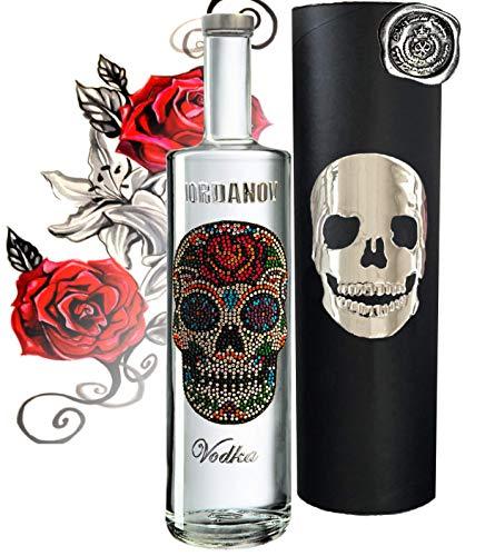 Vodka Geschenkset Flower Skull Luxus-Wodka Iordanov im Geschenk Chrome für Männer