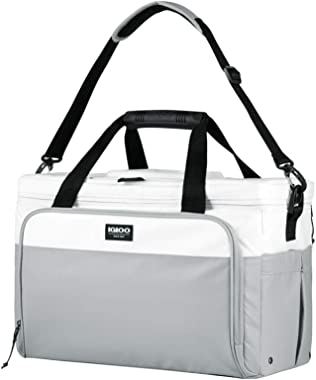 Igloo Coast 36 Can Durable, Compact & Adjustable Insulated Leak Proof 36 Cooler Duffel Bag, White and Gray