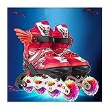Miarui Illuminées Taille réglable en Ligne de Patins Patins à roulettes pour Enfants Chaussures de Skate à roulettes Rollers Entraînement Roller Skate Chaussures pour Enfants,Rouge,M(33~37)