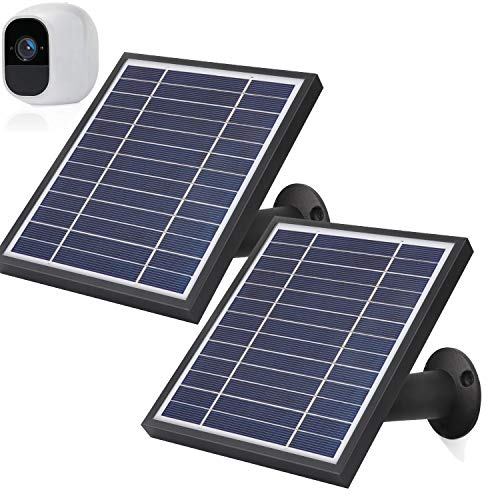 iTODOS 2 Pack Solar Panels Work for Arlo Pro 2 Camera, 11.8Feet Power Cord and Adjustable Mount(Black)