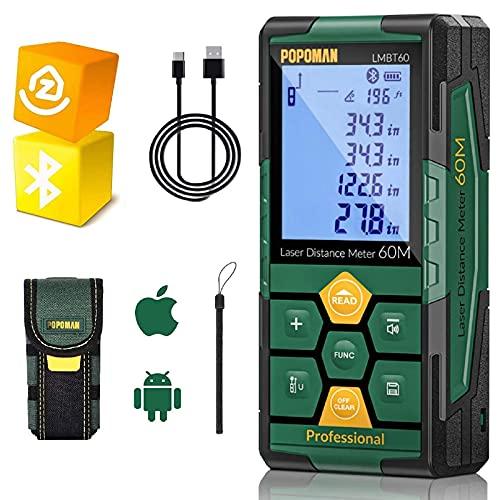 Misuratore Laser 60m, POPOMAN telemetro laser ricaricabile (Bluetooth + App), USB Carica Rapida, Sensore Angolo Elettronico, 99 dati, Funzione muto, 2,25''LCD retroilluminato, IP54 - LMBT60