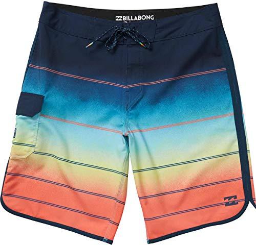 G.S.M. Europe - Billabong Pantaloncini Spiaggia Uomo, Multicolore (Arancione), 32