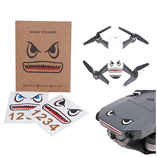 Darkhorse Shark Face Design Sticker Decal Skin DIY Accessory for DJI Mavic Pro/ Mavic Air /Mavic 2 Mavic 2 Pro & Spark