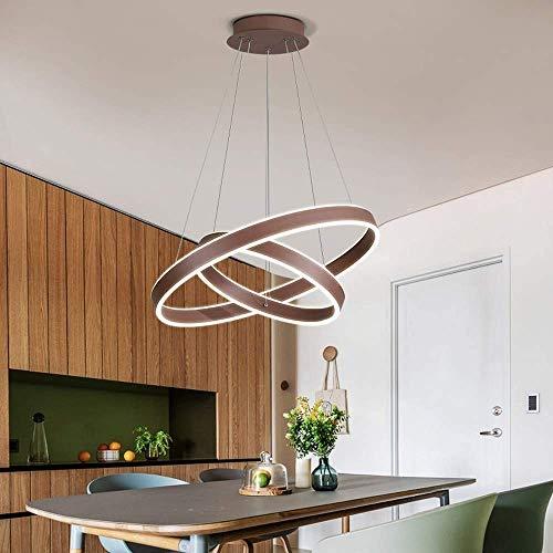SKSNB Candelabro LED, Candelabro, Candelabro Marrón de 2 Anillos con Mesa de Comedor con Control Remoto Regulable, Adecuado para Techo Oficina de Hotel