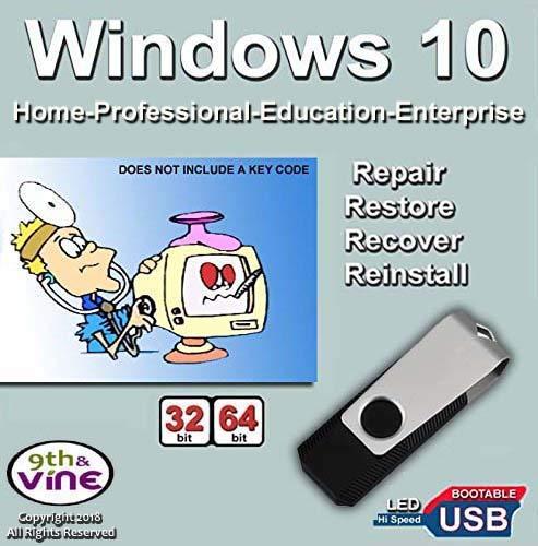 Windows 10 Home, Professional, Education, Enterprise 32-64 Bit Install | Boot | Recovery | Restore USB Flash Drive