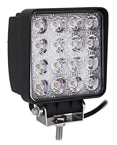 Miracle Lot de 1 lampes LED 48W projecteurs spots idéal pour véhicule tout-terrain, chantier, phares anti-brouillard de camion, Jeep, bateau, 4x4, 12V-24V
