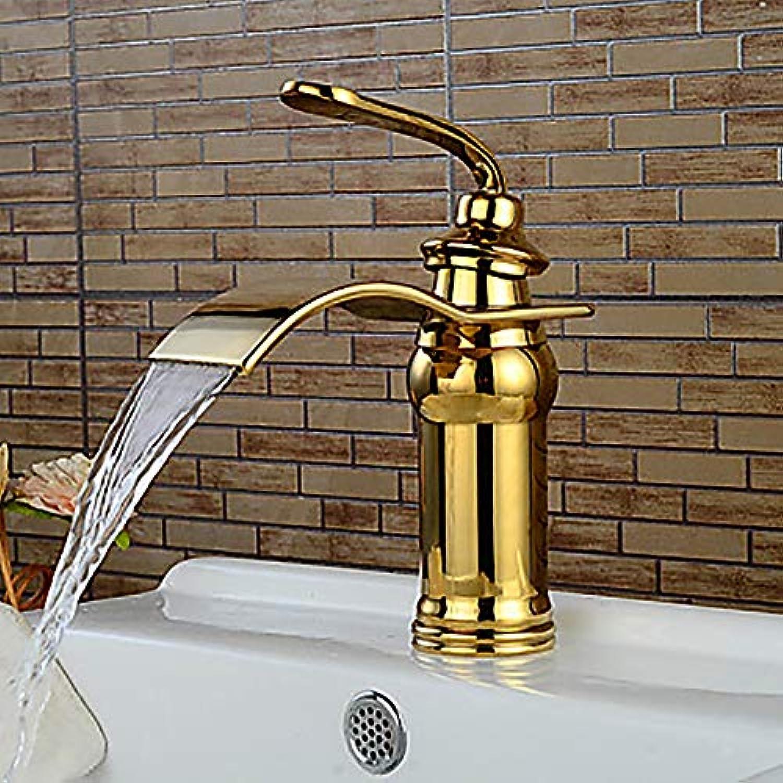AmzGxp Modernes Goldenes Hotel Badezimmer Waschbecken Wasserhahn - Wasserfall EIN Griff EIN Hahn Messing
