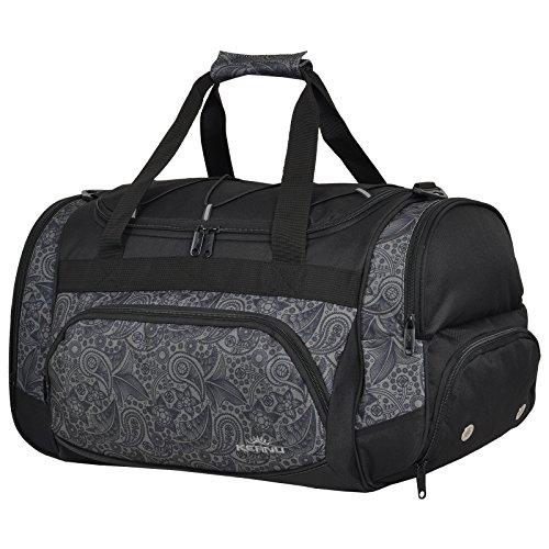 Keanu Durchdachte Sporttasche (50 x 29 x 28 cm - 45 Liter Fitness Yoga Sauna mit XL Getränkenetz - Grosse Multisport Tasche für Gym Sport Sauna Reise Wellness :: Reisetasche (Türkis Ornament)