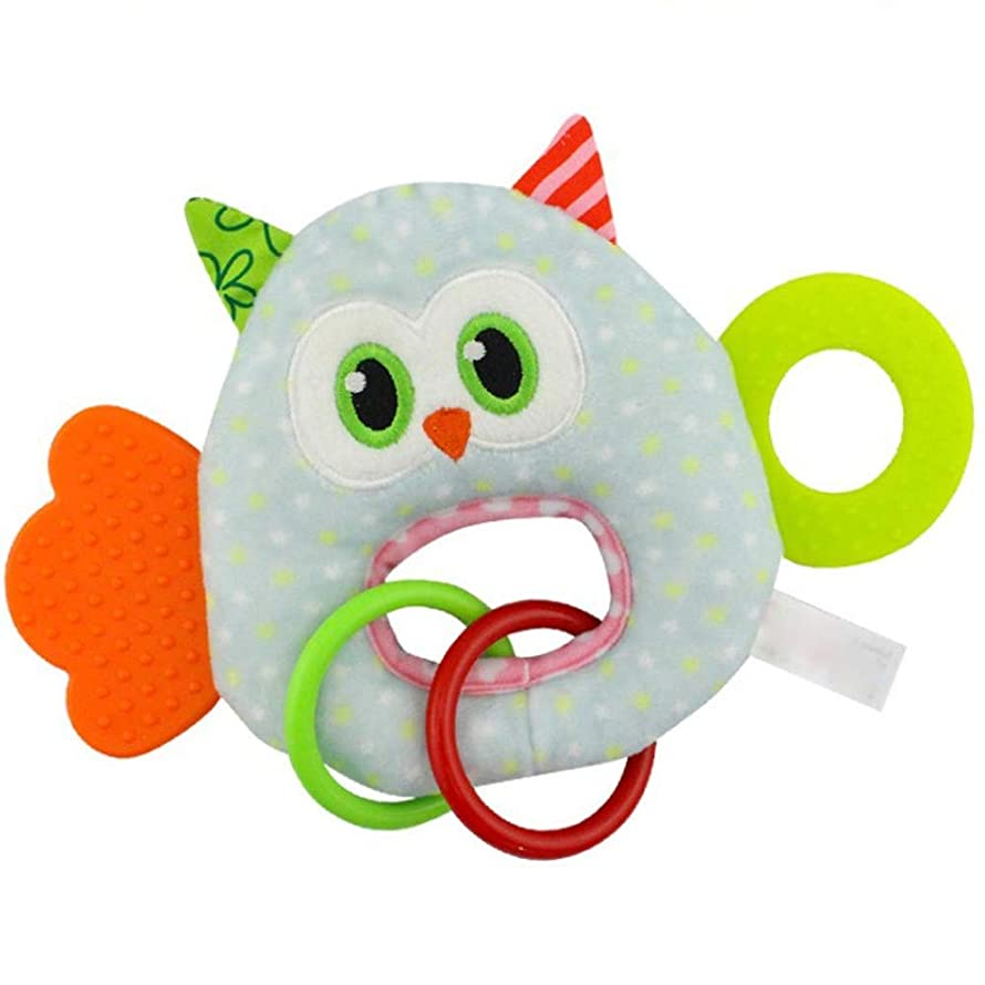 Lomsarsh Newborn Baby Infant Animal Soft Rattles Teether Hanging Bell Plush with Tooth Glue BB Hand Grasping Toy Baby Toy O Type Hand Grip Rattle