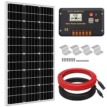 ECO-WORTHY 100 Watts Solar Panel Off Gird RV Boat Kit  100W Mono Solar Panel +20A LCD Charge Controller+Z Brackets