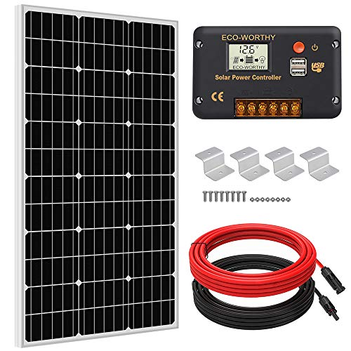 ECO-WORTHY 100 Watts Solar Panel Off Gird RV Boat Kit :100W Mono Solar Panel +20A LCD Charge Controller+Z Brackets