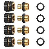 3/4 Inch Garden Aluminum Hose Fitting Quick Connector Male and Female Value Pack - No-Leaks Water Hoses Quick Connect Release, 4 Set, with 4 Sealed O-Rings