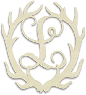 UNFINISHEDWOODCO Antler Monogram L Decorative Piece