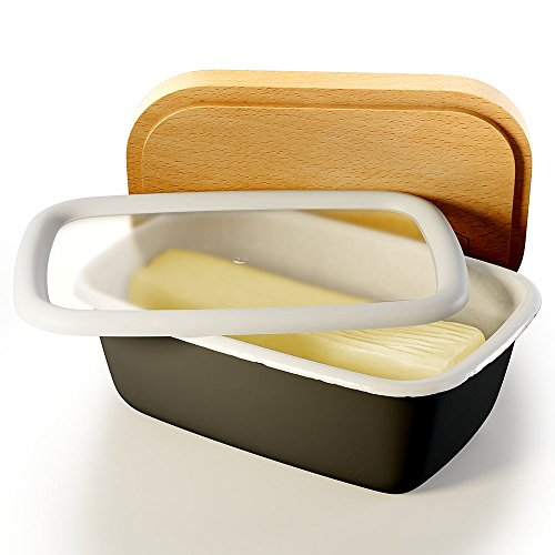 Butterdose, Emaille, Holzkohle, Deckel aus Buchenholz, mit Deckel aus Kunststoff und Aufbewahrungsdeckel