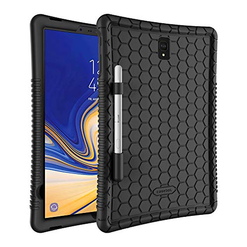 Fintie Silicone Case for Samsung Galaxy Tab S4 10.5 2018 Model SM-T830/T835/T837, [Honey Comb Series] [Kids Friendly] Light Weight Shock Proof Protective Cover with S Pen Holder, Black