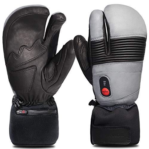 Savior Heated Gloves for Men and Women, Full Leather Mitten for Skiing, Skating,Arthritis Gloves (XL, Black/Grey)