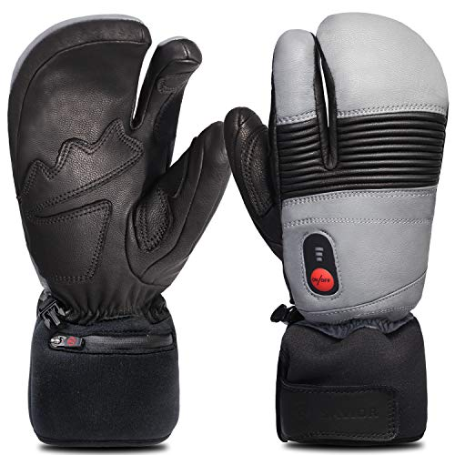 Savior Heated Gloves for Men and Women, Full Leather Mitten for Skiing, Skating,Arthritis Gloves (XXL, Black/Grey)