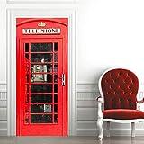QHDHGR Türaufkleber selbstklebendes Türbild Rot &