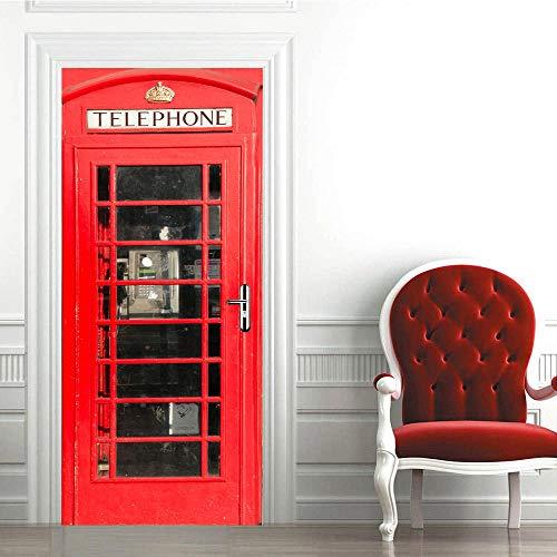 WZKED 3D Puerta Pegatina Pared Cabina De Teléfono Roja Calcomanía De Vinilo Extraíble DIY Autoadhesiva Etiqueta De Puerta Murales para Cocina Sala De Baño Decorativos 90x210Cm