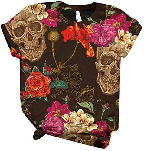POINWER Women's Summer Short-Sleeved 3D T-Shirts Colourful Dog / Skull Pattern T-Shirts Summer Casual Blouse Funny Shirts Plus Size Comfortable Shirt Tee Tops Women Crew Neck Tops T-Shirt -  - Medium