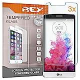 REY 3X Protector de Pantalla para LG G3 D855, Cristal Vidrio Templado Premium