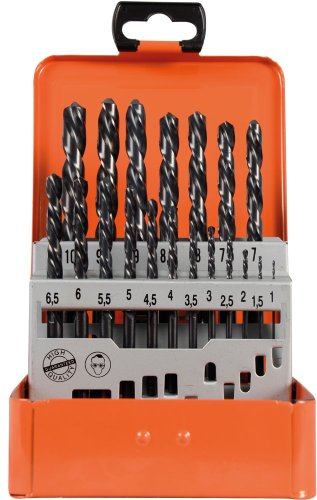 Projahn Spiralbohrer Metallkassette (19-teilig, linksschneidend, aus dem Vollen geschliffen, lange Lebensdauer, je 1 Ø 1 – 10 mm um 0,5 steigend) 60315L