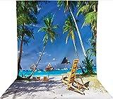 Fondo de fotografía de 1,2 x 1,8 m, tumbonas, palmeras, decoración de playa, telón de fondo de tela de microfibra, pantalla plegable de alta densidad para fotografía de vídeo y televisión