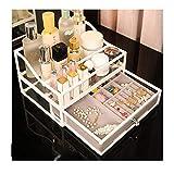 ABCSS Caja de Almacenamiento de Joyas de Vidrio para cosméticos,diseño Tipo cajón a Prueba de Polvo,aretes de joyería de Escritorio,aretes y estantes de Almacenamiento Integrados de acrílico.