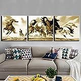 KDSFHLL 3 Dekorative Gemälde 3 Stück Hd Wand Kunst Bild Abstrakte Pferd Tier Malerei Auf Leinwand Für Wohnzimmer Dekor Hause Dekoration (kein Rahmen)