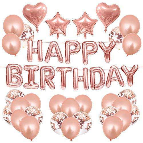 TIANLE Decoraciones de cumpleaños de Oro Rosa Feliz cumpleaños Globos para niñas Mujeres Feliz cumpleaños Banners Fiesta de cumpleaños decoración