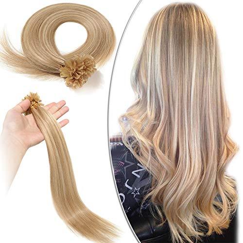 Extension Capelli Veri Cheratina 100 Ciocche Meches 40cm #18/#613 Beige Sabbia Biondo/Biondo Chiarissimo - 100% Remy Human Hair U Tip Hair Capelli Naturali Lisci 0.5g/fascia