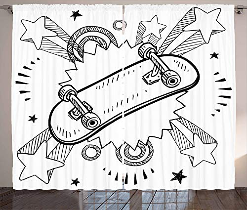 ABAKUHAUS Hipster Gordijnen, Skateboard Pop Art Style, Woonkamer Slaapkamer Raamgordijnen 2-delige set, 280 x 225 cm, Zwart wit