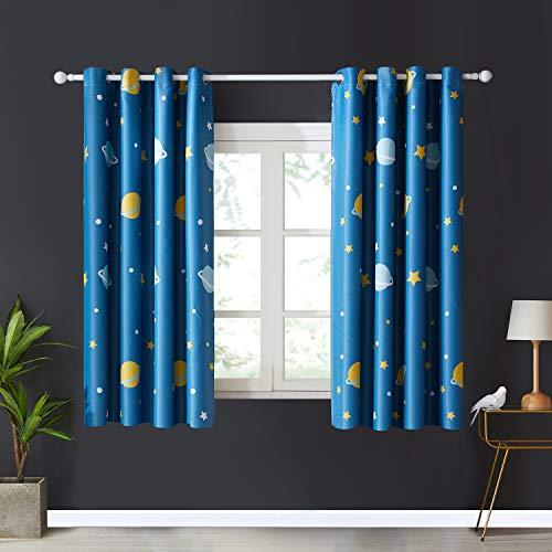 Topfinel Blickdichte Vorhänge mit Ösen Planet Mustern Kurze Verdunkelungsvorhänge für Kinderzimmer Wohnzimmer Fenster 2er Set je 137x117cm (HxB) Blau