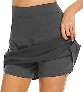 NestYu Women Fake Two Pieces Casual Breathable Drawstring Run Sport Shorts