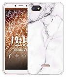 Sunrive Für Xiaomi Redmi 6A Hülle Silikon, Transparent Handyhülle Luftkissen Schutzhülle Etui Case für Xiaomi Redmi 6A(TPU Marmor Weißer)+Gratis Universal Eingabestift