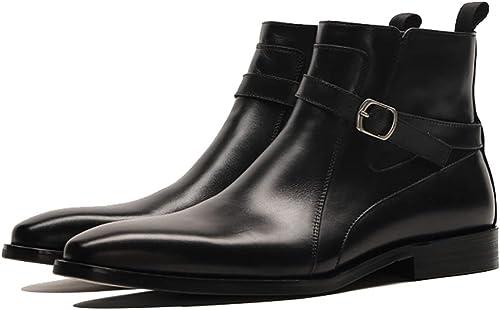 LYMYY Bottes Chelsea pour hommes haut-haut en cuir Martin bottes Affaires Work & bottines de sécurité Décontracté Zipper-up chaussures pour hommes