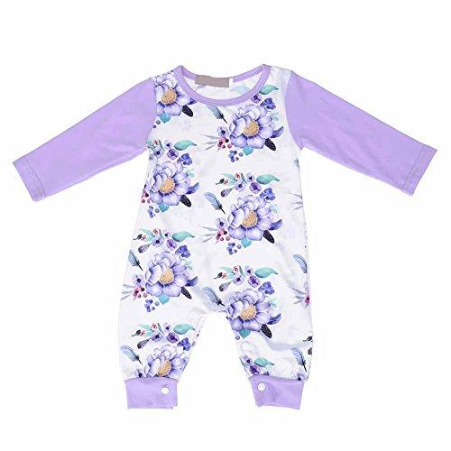 Domybest Herfst Winter Pasgeboren Baby Jumpsuit Romper Katoen Lange Mouw Bloemen Gedrukt Bodysuit Slaapmode 12-18 M Purple Floral Print