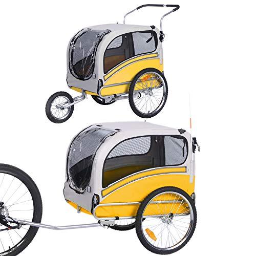 2 in 1 großer Kinderwagen zum Joggen / Fahrradanhänger, multifunktionaler Kinderwagen 20303L (Gelb)